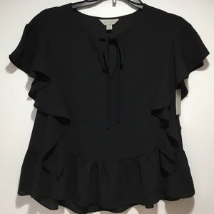 Belle & Sky Black Sheer Blouse Size X-Small NWT